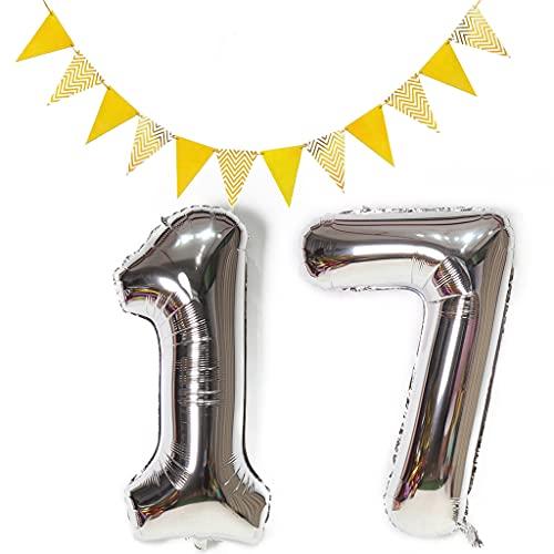 Globos con el número 17 plateados + 1 set triángulo banderas doradas, XXL, 100 cm, globos gigantes plateados con número 17, globos con número 17, globos con número 17, globos con helio 17