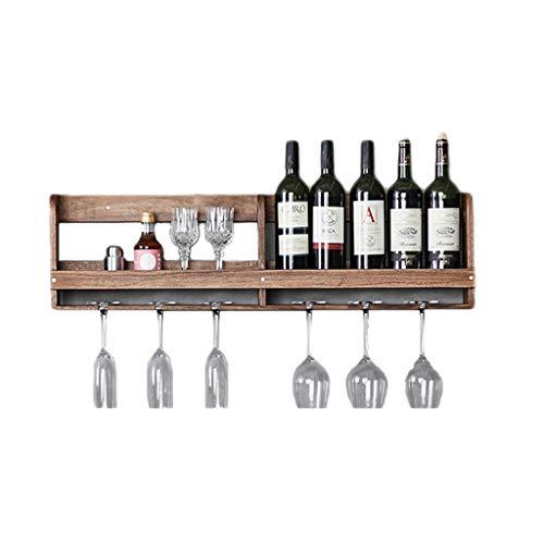 Soporte organizador de botelleros Estante del vino del colgante de pared de madera sólida del hogar, estante al revés del vino del tenedor de taza del restaurante nórdico simple Estantes de exhibición