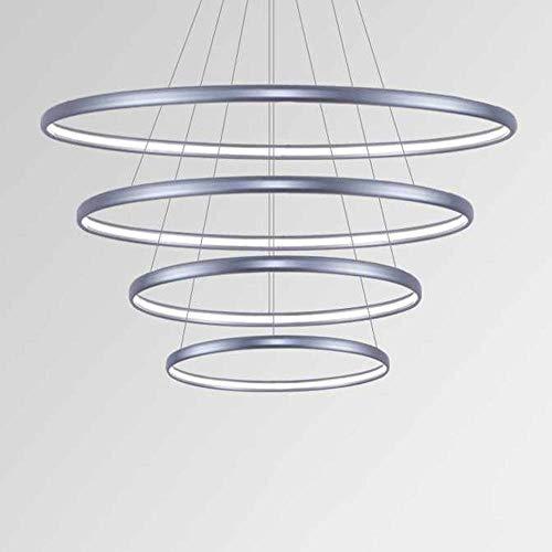 CAIMEI Lámpara Colgante Regulable Lámpara Led Lámparas Colgantes Decorativas Plata Aluminio Metal Silicona Blanca Techo Luz de Suspensión Villa Sala de Estar Dormitorio Café Escalera Araña Ajustable