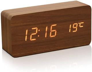 Alarm Clock Wood LED Digital Desk Clock Displays Time Date Week & Temperature Travel Clock with 3 Brightness Adjustable,3 ...