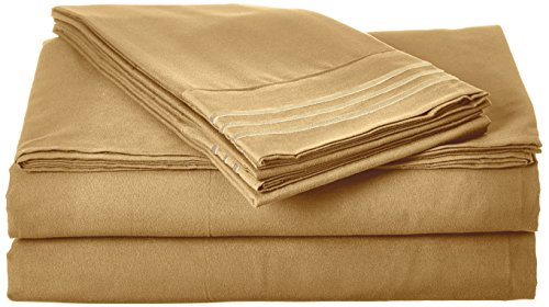 Celine Linen Bettwäsche-Set, Fadenzahl 1800, ägyptische Qualität, knitterfrei, 5-teiliges Bettlaken-Set mit tiefen Taschen, geteiltes King-Size-Bett, Mokka-Schokolade