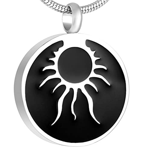 Liart Urna de Cremación Collar para Cenizas Grabado Acero Inoxidable Ronda de Sol Medallón Contenedor de Urnas Collares de Recuerdo Regalo de Joyería