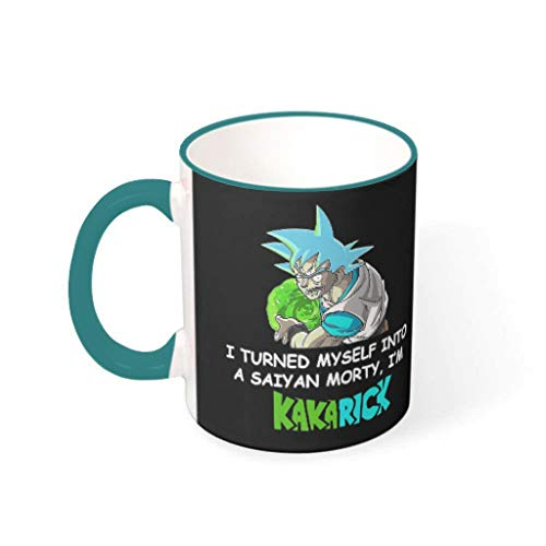 AZdesign20 Goku I Turned Myself Into A Saiyan Morty I'm Kakarick Mug Funny 3D Print Porcelain Coffee Mug Cup Gift for Brother Sister Teal 11oz