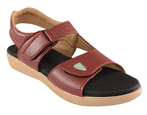 HEALTH FIT Healthfit Women's Extra Soft Comfortable with Extra Arch Support Diabetic & Orthopedic Outdoor Indoor Stylish Sandals HF905