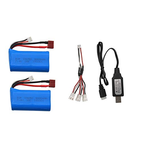 CENYAFAN 7.4V 3000MAH lipo batería 18650 de Q46 WLTOYS 10428/12428/12423 RC Recambios con Cargador de batería for 7.4V 2S Juguetes Piezas Herramienta de Montaje de Piezas RC (Color : USB 2PCS)