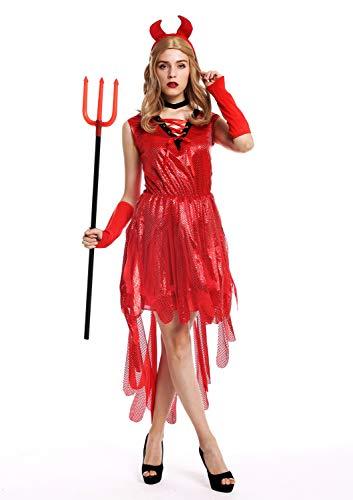 dressmeup - W-0283 Disfraz Mujer Feminino Halloween Carnval diablesa Demonia Bruja Vestido Rojo Cuernos Talla M