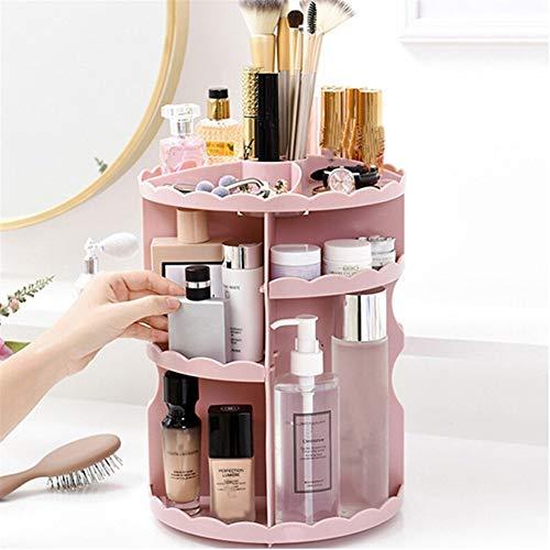 Kosmetikregal Bad Organizer Rack 360 Rotating Einstellbare Make-up Organizer Regal Aufbewahrungsbox for Kosmetikpinsel Tabletop (Color : Pink)
