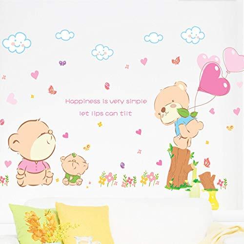Muursticker Woonkamer Romantische Slaapkamer Kamer Muursticker TV Achtergrond Muurstickers Super Cute Bear Kinderkamer Sticker Mural Behang