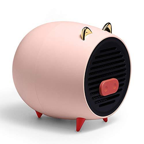 FFZZ Calefactor Bajo Consumo Electrico 500W Diseño De Luz Indicadora Interruptor De Un Toque El Aislamiento No Está Caliente Suministro De Aire De Gran Ángulo para Dormitorio, Oficina,Rosado