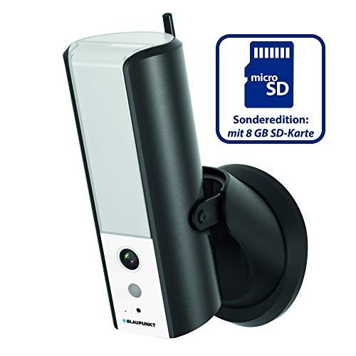 Blaupunkt lampcam HOS-X20 met 8 GB microSD-kaart full HD videobewaking en dimbare led-buitenlamp met bewegingssensor, luisteren en spreken via gratis app, push-berichten, IP55 beschermingsklasse