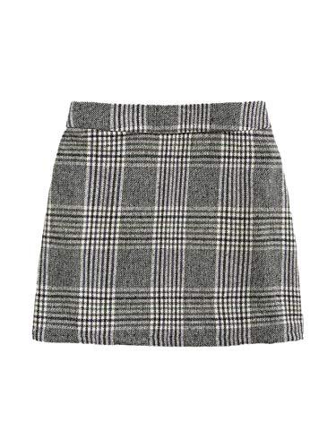 Floerns Women's Plaid High Waist Bodycon Mini Skirt Grey Plaid S