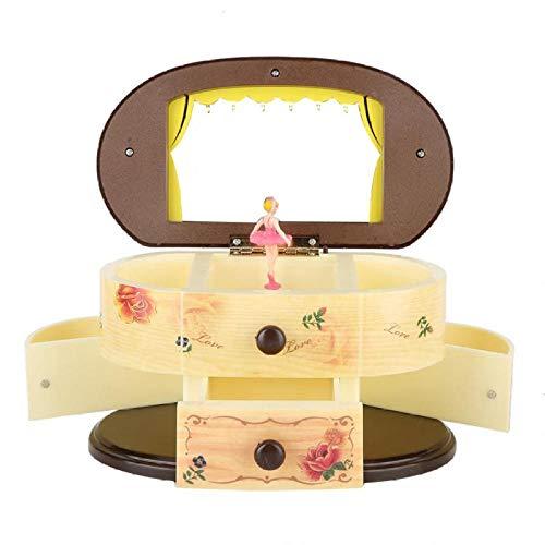 LIUJUAN Schmuckschatulle,Aufbewahrungsbox Spieluhr Tanzen Ballerina Spieluhr Schmuckkästchen Aufbewahrungskoffer Mit Spiegel Für Mädchen Kosmetische Aufbewahrungsbox-Gelb
