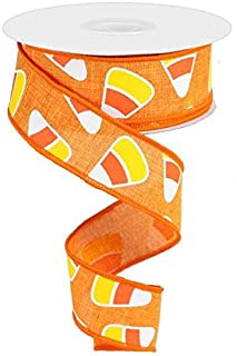 Candy Corn Canvas Wired Edge Ribbon, 10 Yards (Orange, 1.5
