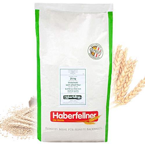 Dinkelmehl 25 kg Typ 630 von Haberfellner | Glattes Mehl aus Dinkel für alle Teige geeignet | Brotmehl, Kuchenmehl, Nudelmehl | Beste Qualität ohne Gentechnik und pestizid-kontrolliert