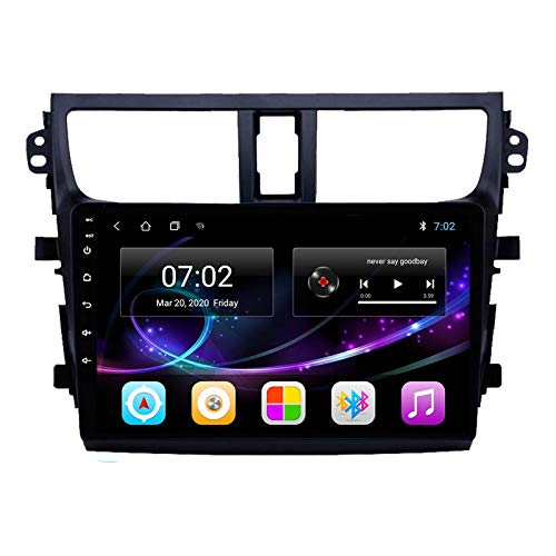 Double Din Car Stereo GPS Navigation Head Unit with Bluetooth FM Radio Built-In Wifi Module Support USB/1080P Video/Carplay/DSP/RDS/4G SWC, for Suzuki Celerio 2015-2018,Quad core,4G WiFi 2+32