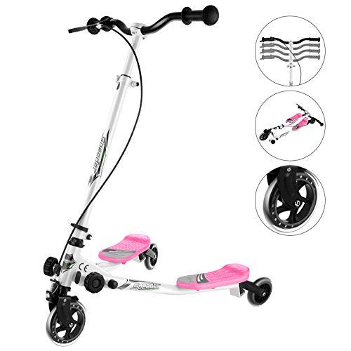 Patinete plegable de 3 ruedas para niños, altura ajustable, giro de 360 °, para niñas y niños