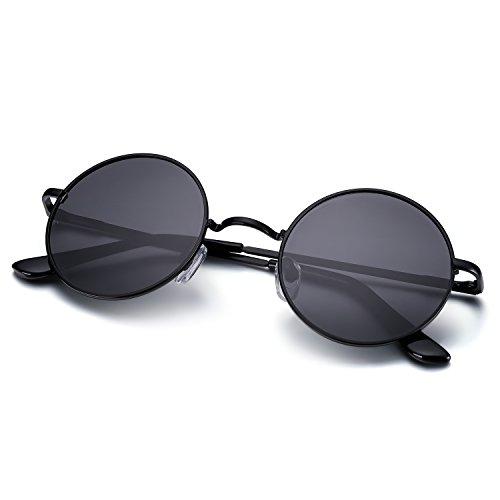 Menton Ezil Runde Retro Lennon Sonnenbrille Vintage Polarisierte Linsen Metall Gestell Rundbrille Hippi Brille Outdoor-Brille für Frauen und Männer