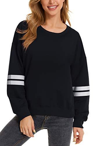 GOLDPKF Damen Loose Crewneck Sleeves Horizontal Stripe Supernatural Basic Sweatshirts Schwarz S 36-38