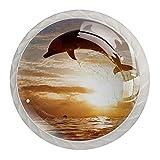 Pomos para gabinete de cocina con diseño de delfín, tiradores de cristal para vestir, paquete de 4