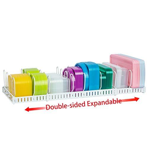 Double-side ExpandableFoodContainerLidOrganizer,Super LargeCapacityAdjustable12DividersDetachableLidOrganizerRackforCountertop,Cabinets,Cupboards,PantryShelves,Drawers(White)