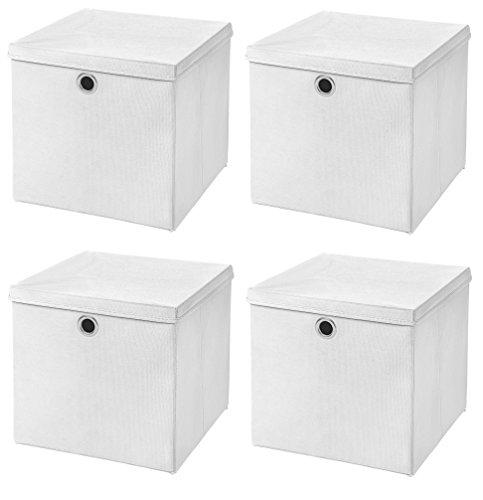 Stick&Shine 4X Aufbewahrungs Korb Weiß Faltbox 33 x 33 x 33 cm Regalkorb faltbar mit Deckel