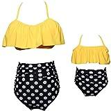 Owntop Traje de Baño Familiar a Juego - Bikini de Dos Piezas para Niñas, Ropa de Natación para Mujer Cintura Alta Bañador Ropa de Playa S