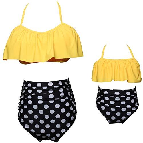 Women Retro High Waisted Swimsuit 2pcs Bikini Halter Flounce Top and Printed Ruched Bottom L Yellow Polka Dot