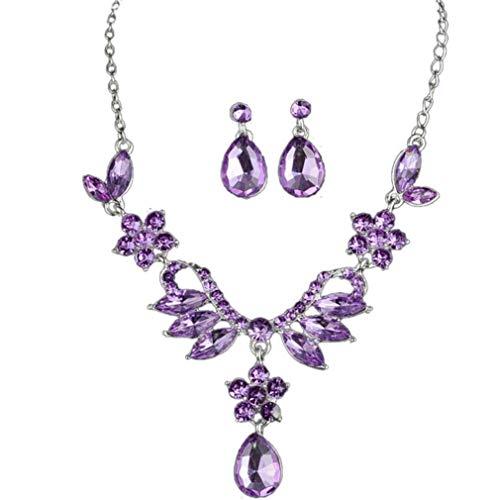 ITVIP Brautschmuck-Set für europäische und amerikanische Braut aus einer Legierung, Wassertropfen, Kristall-Einlage mit Diamanten, Ohrringe für Brautschmuck 20CM violett
