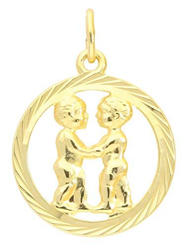 MyGold sterrenbeeld hanger tweelingen (zonder ketting) geel goud 333 goud (8 karaat) gediamanteerd binnen open Ø 15 mm rond dierenriemteken horoscoop geschenken Gavno A-04433-G302-Zwi
