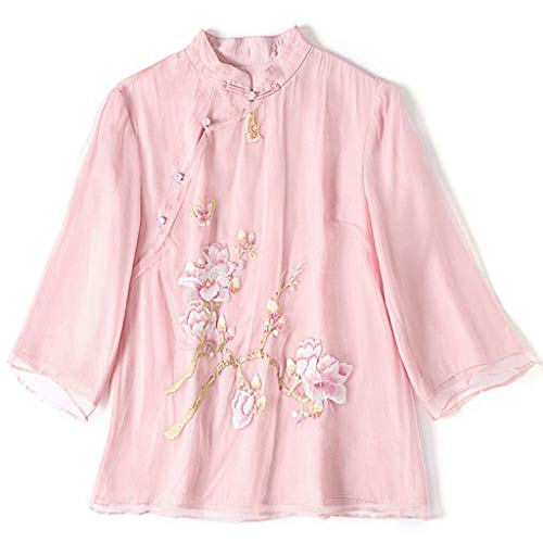 HangErFeng Everyday Dress Shirts Silk Organdy Embroidery Mock Collar Chinese Blouse 2194