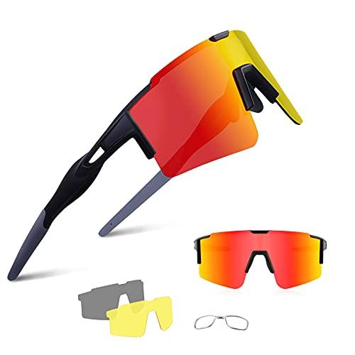 BangLong Occhiali sportivi Occhiali da Sole Polarizzati Occhiali da Bicicletta per Uomo Donna Protezione UV400 con 3 Lenti di Ricambio per Ciclismo Corsa Arrampicata Guida Pesca Golf Escursionismo