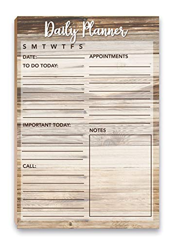 """Rustic Daily Planner Notepad with Magnet - 8.5"""" x 5.5"""" - Grocery, Shopping, Daily Tasks List - (Daily Planner)"""