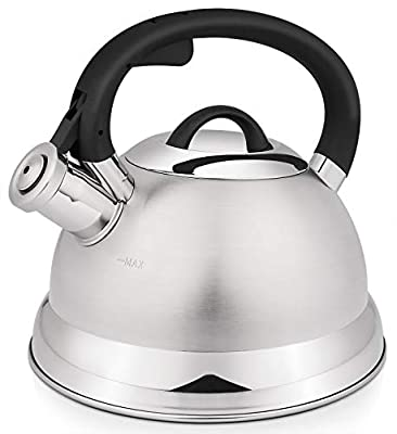VICALINA Whistling Tea Kettle, 2.4 Quart Stainless Steel Teapot for Stovetop with One-Touch Open and Close Cool Handle-Silver