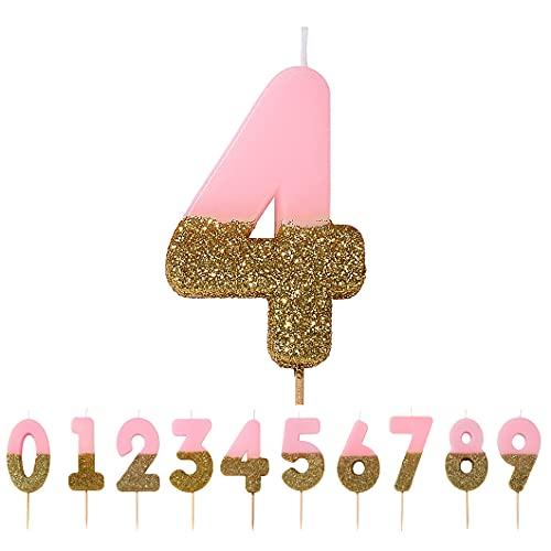 Talking Tables Bougies dorees et Roses a Paillettes 4 an Pour un Gateau | Ideal comme accessoire d'anniversaire