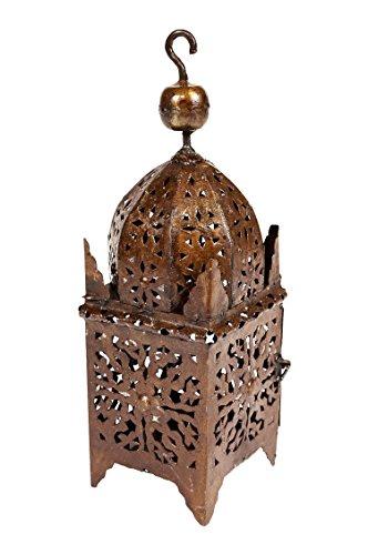Oosterse roestige lantaarn van metaal Frane 40 cm groot | Marokkaans rooster tuinlantaarn voor buiten of binnen als tafellantaarn | Marokkaanse tuinwindlicht hangend of om neer te zetten