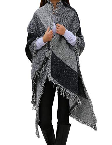 Vamei damessjaal winter luipaarden sjaal warm dik geruit sjaal stola lange sjaal oversized damessjaal winter karosjaal kerstgeschenk voor dames