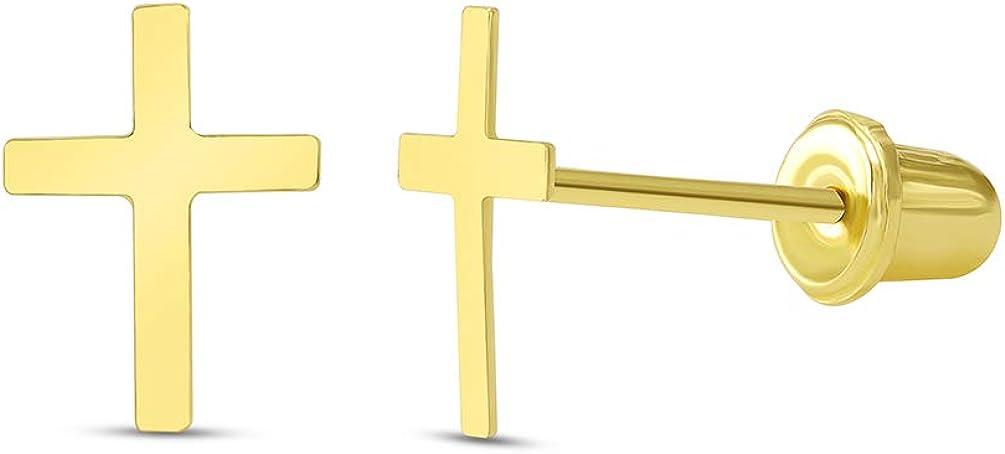 14k Yellow Gold Dainty Christian Mini Cross Stud Earrings with Screw Back