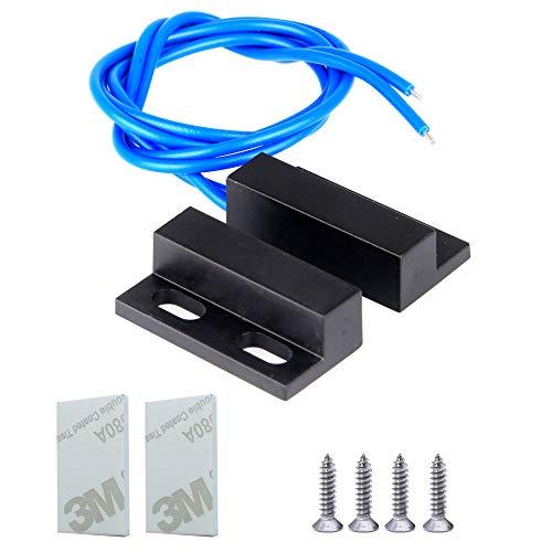 Gebildet 1 Juego 100 V-240 V Cable Azul Interruptor Magnético Normalmente Abierto, Interruptor de lengüeta Magnético, Alarma de Sensor de Contacto de Puerta de Ventana de Seguridad Empotrada