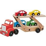 Hape International Woody Holz Autotransporter 30,5x16x7cm / Transporter für Autos mit 4 bunten Autos