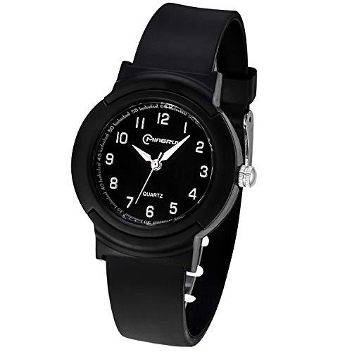 Kinderuhren Mädchen Jungen,Analoge Armbanduhr wasserdichte Leicht zu Lesen Zeit Weicher Riemen Armbanduhren Geschenk für Kinder(Schwarz)
