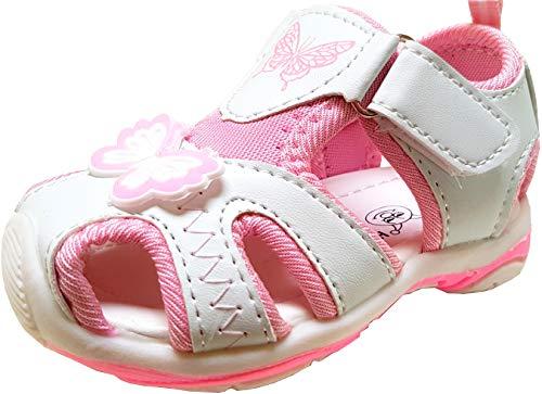 gibra® Sandalen für Babys und Kleinkinder Kinder, mit Klettverschluss, Art. 3947, weiß/rosa, Gr. 25