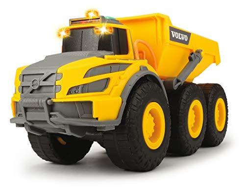 Dickie Toys Volvo Knickgelenkter Dumper, Kipper, Muldenkipper, Kipplaster, Kabine & Ladefläche kippbar, Licht & Sound, inkl. Batterien, Länge 23 cm, gelb/grau