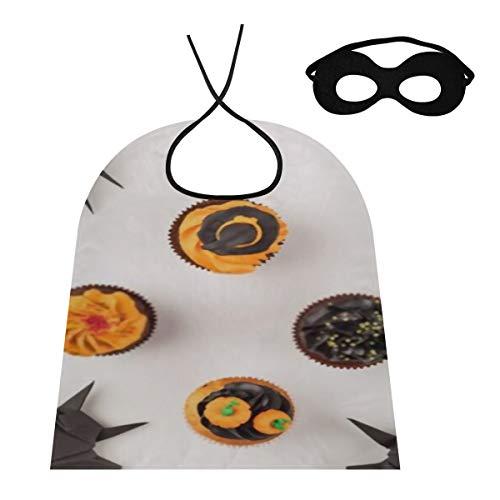 HJHJJ Capa de Cosplay para niños Adultos con máscara para los Ojos, Vista Superior, deliciosas Capas caseras de Cupcakes de Halloween, Disfraz de Navidad de Halloween (27.5