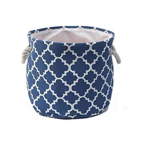 LNTSFE Foldable Laundry Basket, Waterproof Coating Washing Basket Cotton-Flax Laundry Hamper Cylindric Storage Basket VS-32 (Blue)