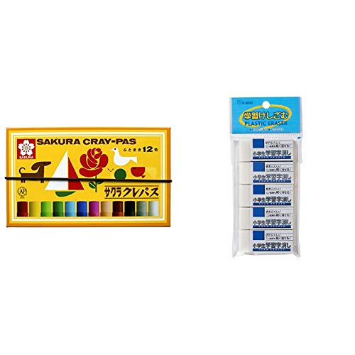 Sakura Crepus RFW100S-5P 12 Colors with Elastic Band LP12R & Eraser, Elementary School Learning 100, 5 Pieces