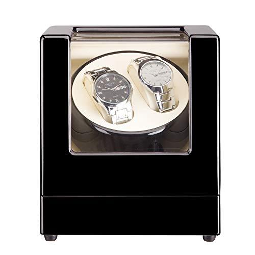 ZFF 100% Hecho A Mano Automático Doble Madera Cajas Giratorias for Relojes,Watches Winder Box con Tranquilo Motor Almacenamiento Estuche (Color : Black)