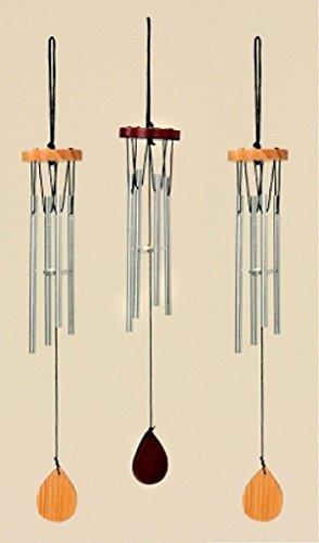 Geschenkestadl 3 Stück Klangspiel mit 4 Klangröhren 33cm Windspiel Natur und braun Mobile Klangspiele klassisch