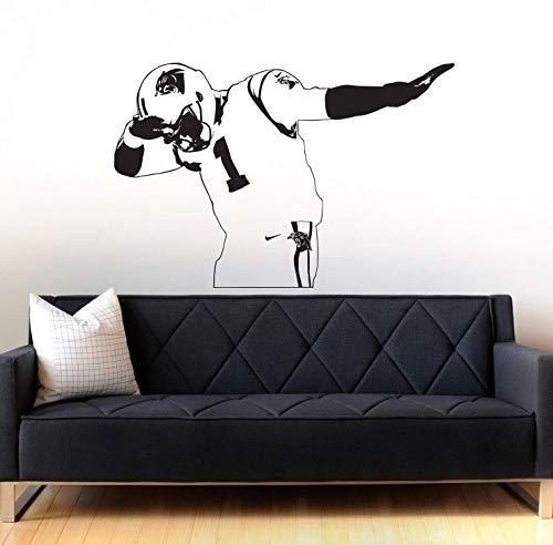 guijiumai Carolina Panthers Newton Wandaufkleber für Wohnzimmer Wohnkultur Vinyl Aufkleber Süße Kinderzimmer Schlafzimmer Wandbilder 146X96CM