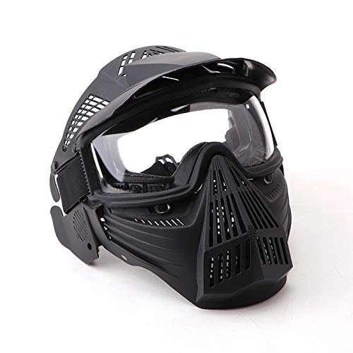 NINAT Tactical Paintball Mask Airsoft Masks Full Face with Clearlens Lens Goggles Eye Protection for CS Survival Games Airsoft Shooting Halloween Cosplay Safety Mask Paintball Black