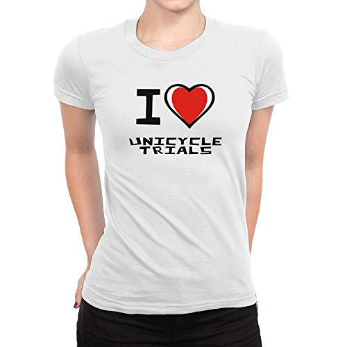 I Love Uni Cycle Trials para mujer Camiseta de, Weiß, XL